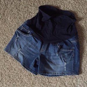 Pants - Indigo blue maternity shorts